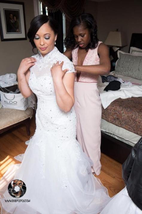 Custom Deep-V Lace Made of Honor Dress